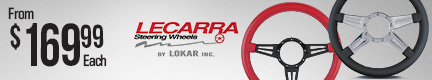 Lecarra Mark 4 and Mark 9 billet aluminum steering wheels (for VO/Burst: Available in 3 and 4 spoke configurations, 12 wrap colors, Made in USA)