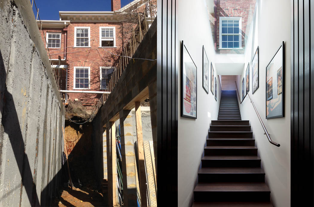 Equivalent images during construction and at completion, showing stair link between new basement and existing house