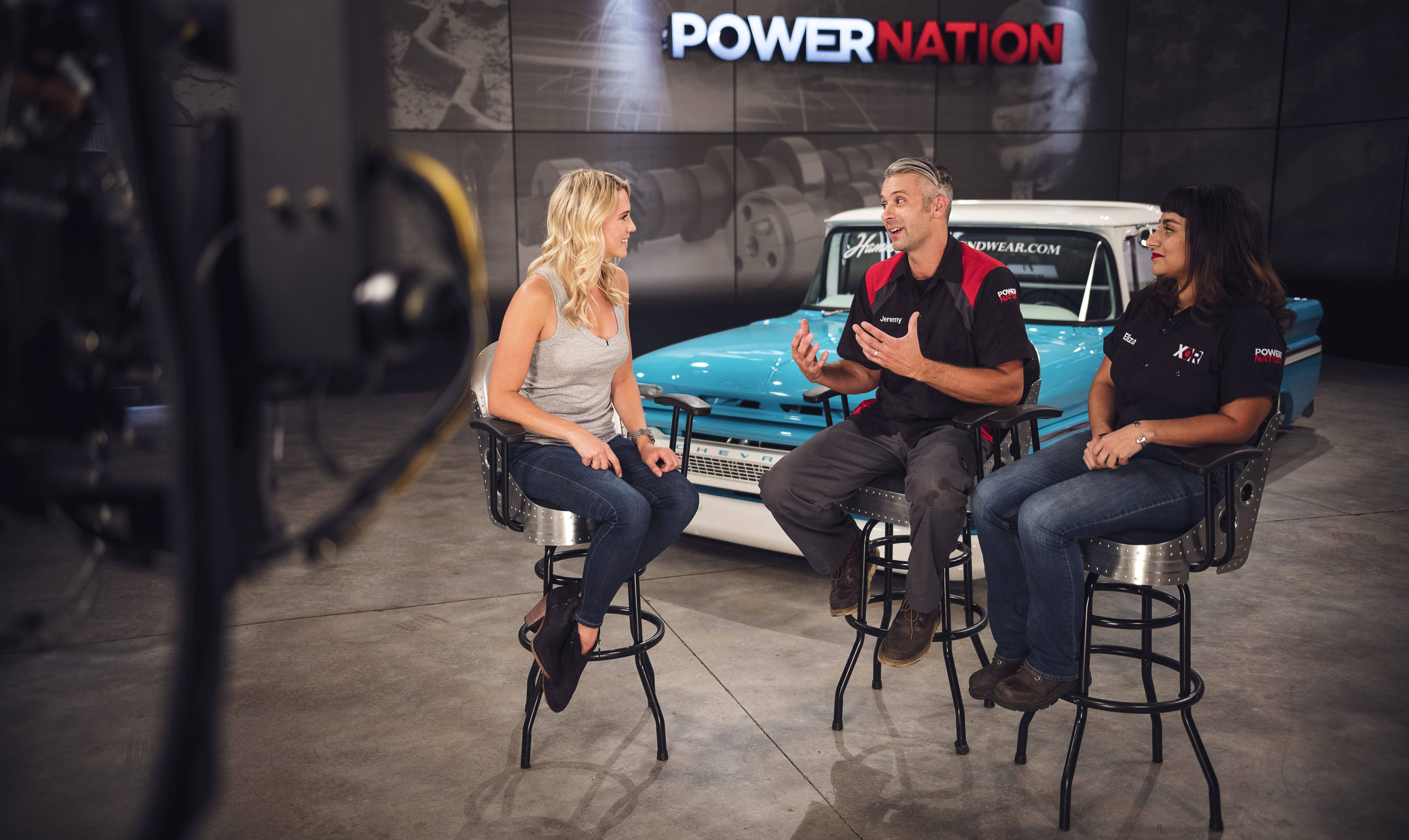 XOR Co-Hosts Jeremy Weckman and Eliza Leon on set with PowerNation Host Katie Osborne