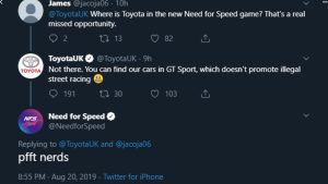 'Need for Speed' Calls Toyota 'Nerds' For Not Including Supra