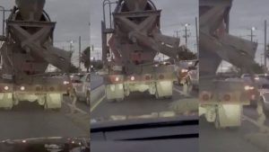 Clueless Mixer Truck Driver Dumps Cement On Cars As It Drives