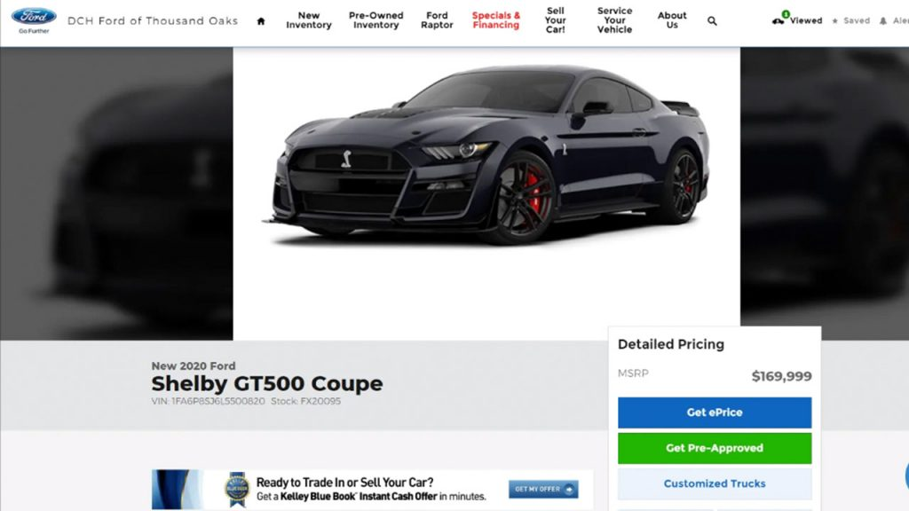 Dch Ford Of Thousand Oaks >> Dealership Lists 2020 Ford Mustang Shelby Gt500 For 169 900