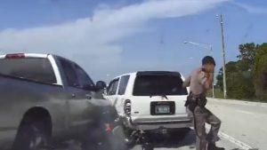 Pickup Misses Hitting  Roadside Trooper By Mere Seconds